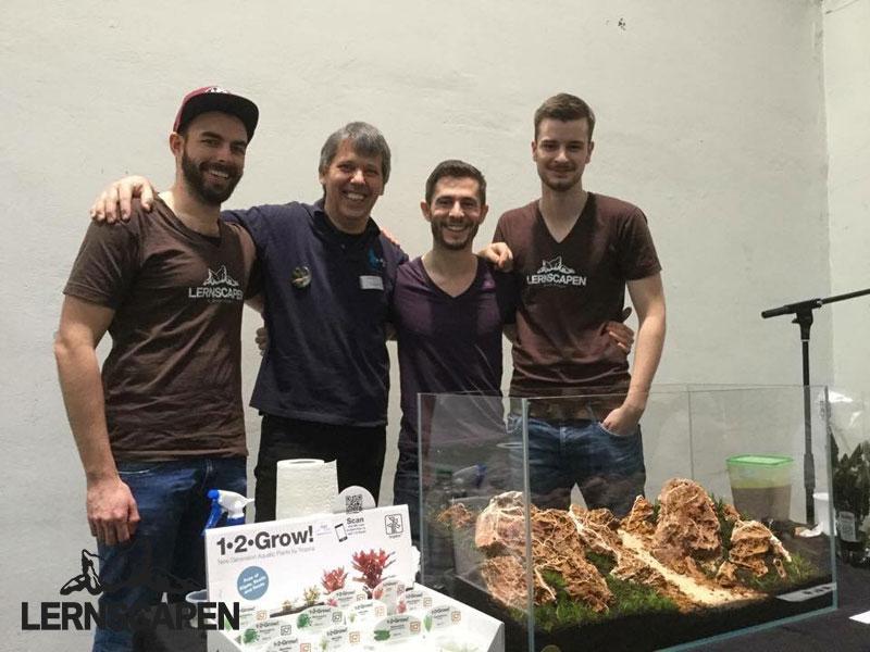 Aquascaping-Wettbewerb-Gruppenbild-Florian-Breindl-Philipp-Gardemin-Jurijs-Jutjajevs-Dennis-Laufer